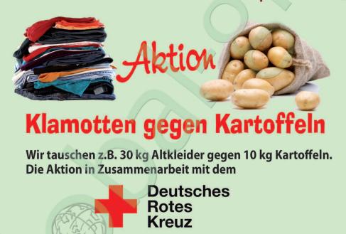 Aktion Klamotten gegen Kartoffeln